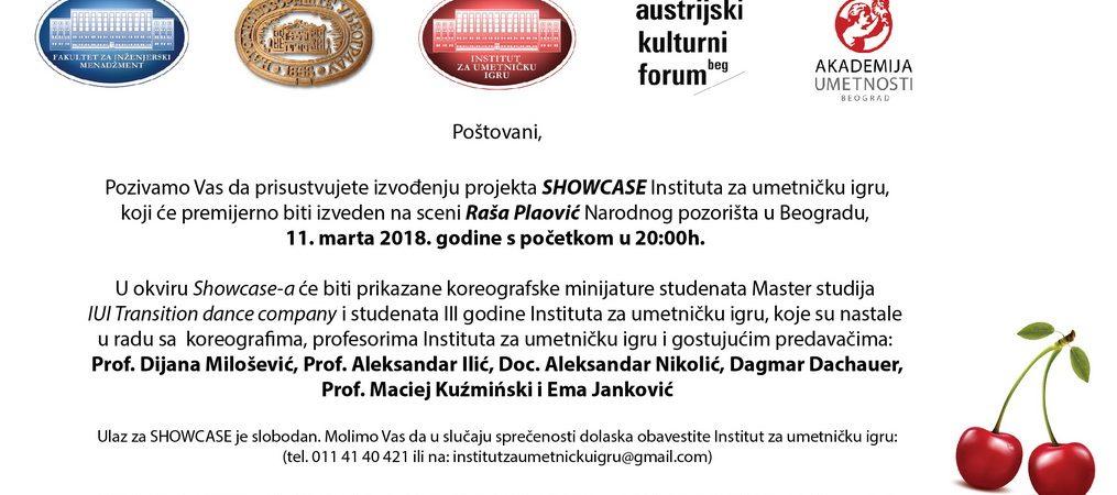 Poziv studentima FIM da prisustvuju premijeri plesnog projekta SHOWCASE